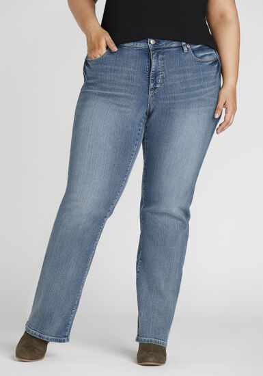 Women's Plus Size Curvy Straight Jeans, MEDIUM WASH, hi-res