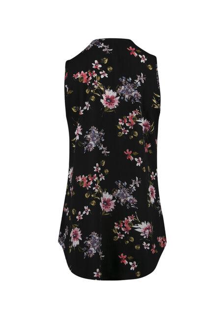 Ladies' Half Zip Floral Tank, BLACK, hi-res