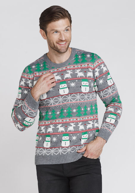 Men's Holiday Sweater, CHARCOAL, hi-res