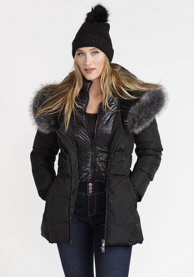 Women's Quilted Parka Jacket, BLACK, hi-res