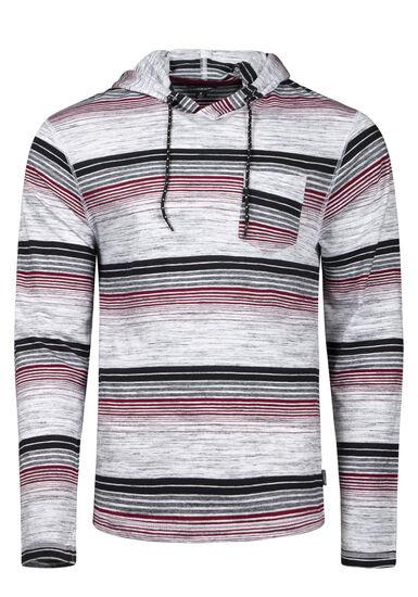 Men's Striped Hooded Tee, WHITE/BURGUNDY, hi-res