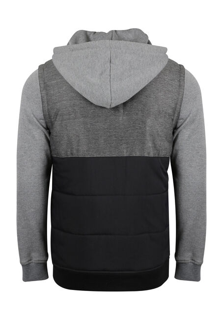 Men's Fleece Sleeve Vest, CHARCOAL, hi-res