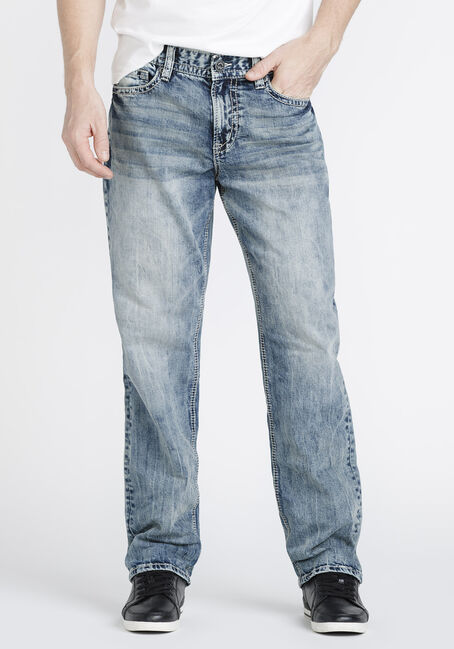 Men's Stone Wash Relaxed Straight Jeans