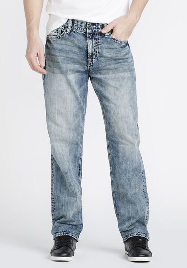 Men's Stone Wash Relaxed Straight Jeans, LIGHT WASH, hi-res