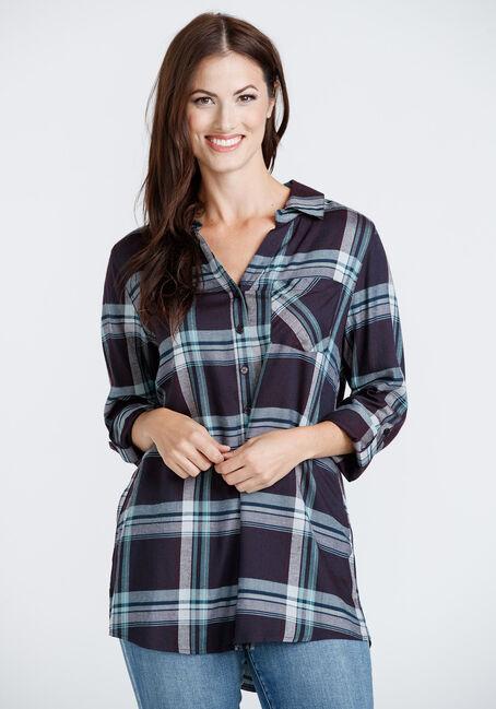 Women's Drapey Plaid Tunic Shirt