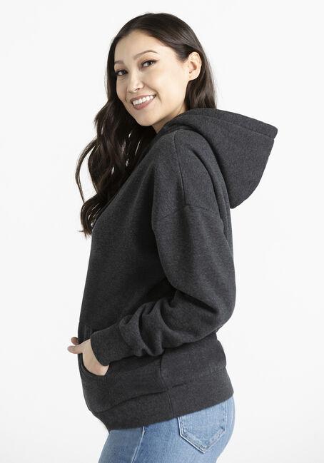Women's Oversized Popover Hoodie, CHARCOAL, hi-res