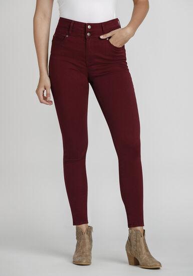 Women's High Rise Skinny Coloured Pant, BURGUNDY, hi-res