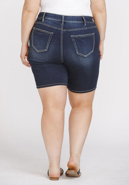 Women's Plus Size Dark Wash Slim Bermuda, DARK WASH, hi-res