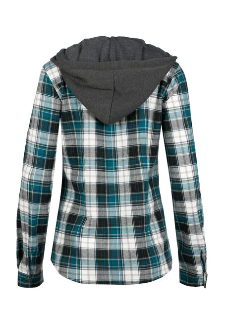 Ladies' Hooded Flannel Shirt, MIRAGE BLUE, hi-res