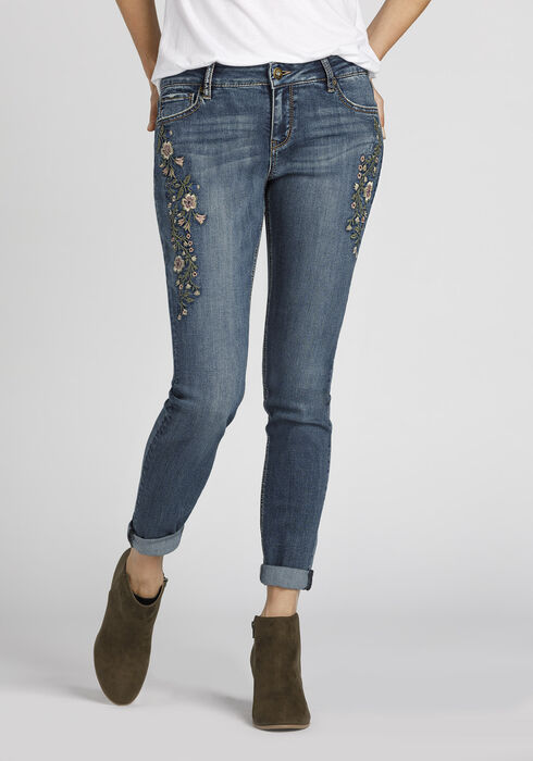 Ladies' Embroidered Girlfriend Jeans, MEDIUM WASH, hi-res