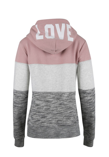 Ladies' Colour Block Popover Hoodie, MAUVE PINK, hi-res