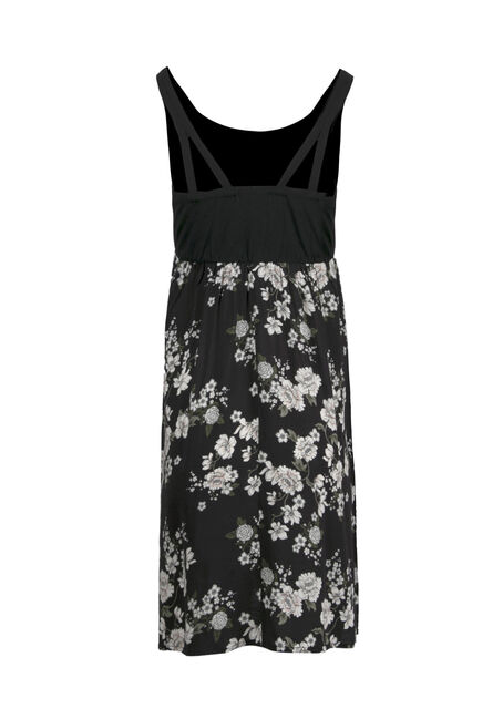 Women's Floral Tank Dress, BLK/WHT, hi-res