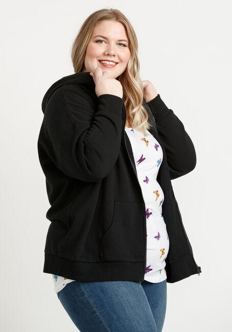 Women's Zip Hoodie, BLACK, hi-res