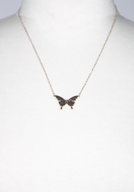 Women's Butterfly Necklace, GOLD, hi-res