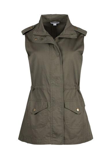 Women's Utility Vest, OLIVE, hi-res