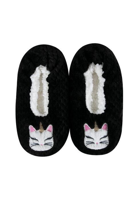 Women's Quilted Unicorn Cat Slippers, BLACK, hi-res