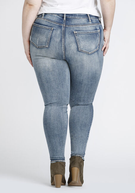 Women's Plus Size Vintage Distressed Skinny Jeans, DENIM, hi-res