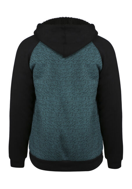 Men's Fur Lined Zip Front Hoodie, LAGOON, hi-res