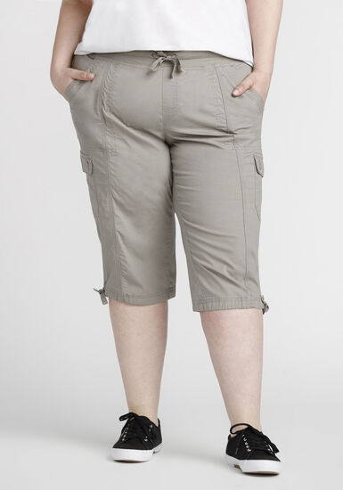Women's Plus Size Cargo Capri, TAUPE, hi-res