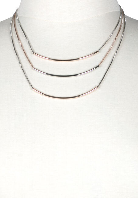 Women's Curved Bars Necklace, MIXED METALS, hi-res
