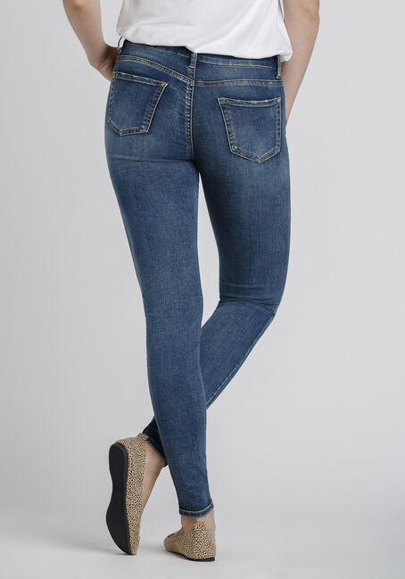 Women's Rip & Repair Skinny Jeans, DARK WASH, hi-res