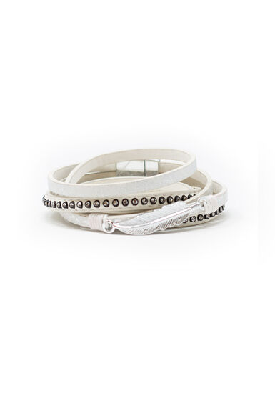 Women's Magnetic Wrap Bracelet, WINTER WHITE, hi-res