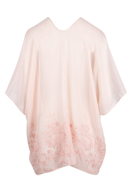 Ladies' Embroidered Kimono, BLUSH, hi-res