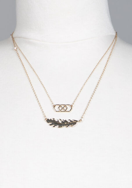 Dainty Feather Necklace, GOLD, hi-res