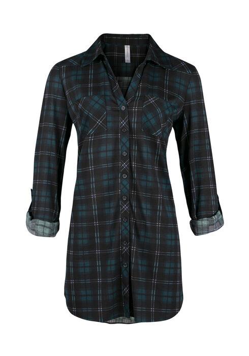 Ladies' Knit Plaid Tunic Shirt, JASPER, hi-res