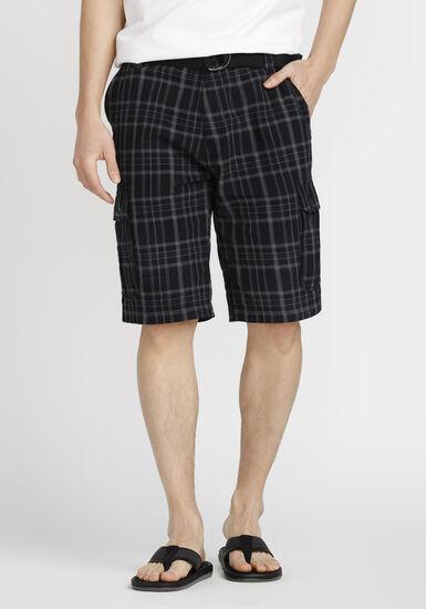 Men's Belted Cargo Short, BLACK, hi-res