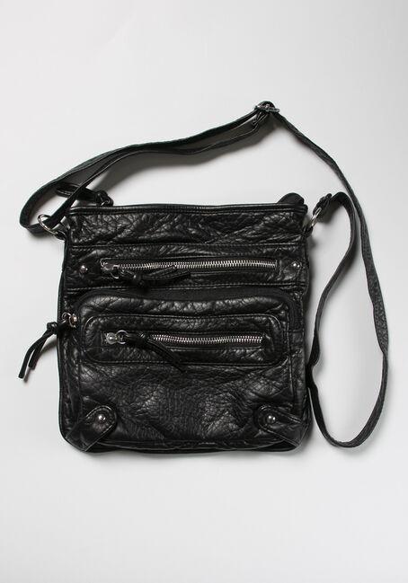 Triple Zipper Cross Body Bag