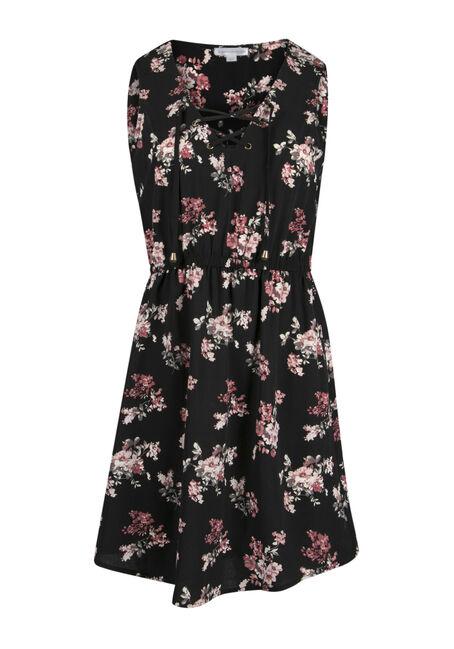 Ladies' Floral Lace Up Shirt Dress