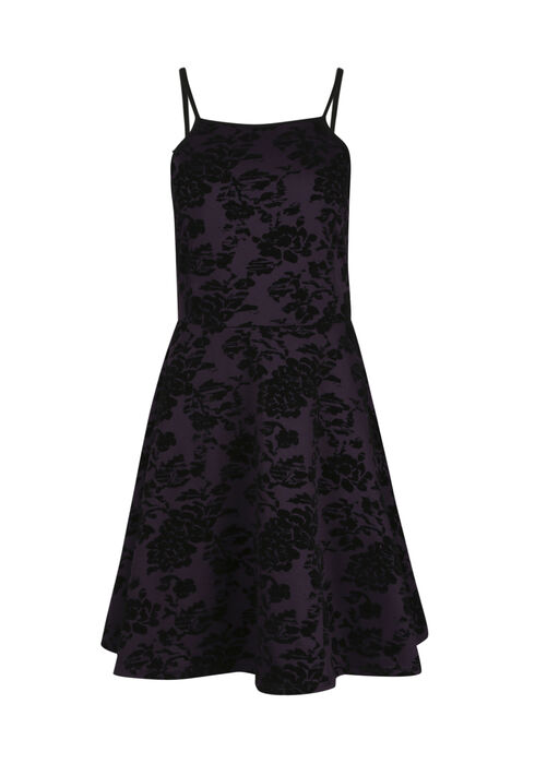 Women's Floral Flocked Fit & Flare Dress, AUBERGINE, hi-res