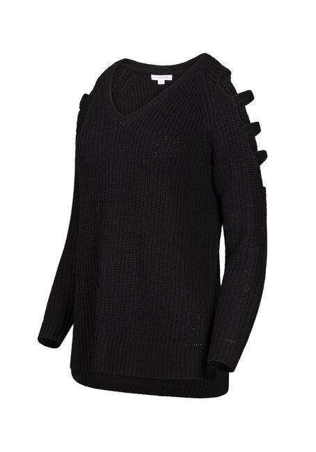 Women's Ladder Sleeve Sweater, BLACK, hi-res