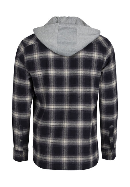 Men's Plaid Hooded Shirt Jacket, INK, hi-res