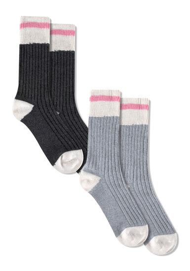 Women's 2 Pair Cabin Socks, PINK, hi-res
