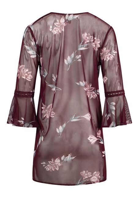Women's Plus Size Floral Mesh Bell Sleeve Kimono, CINNAMON, hi-res