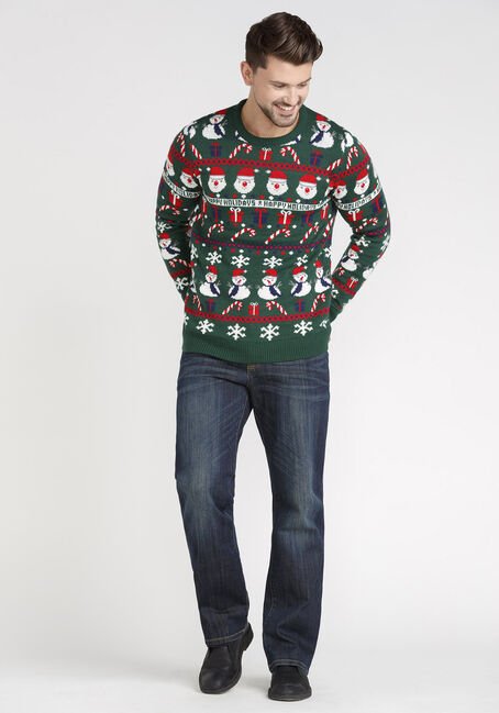 Men's Happy Holidays Sweater, GREEN, hi-res