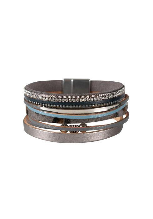 Women's Multi Row Magnetic Bracelet, GREY, hi-res