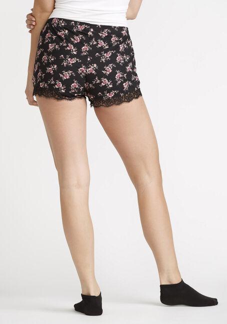 Women's Floral Lace Trim Short, BLACK, hi-res