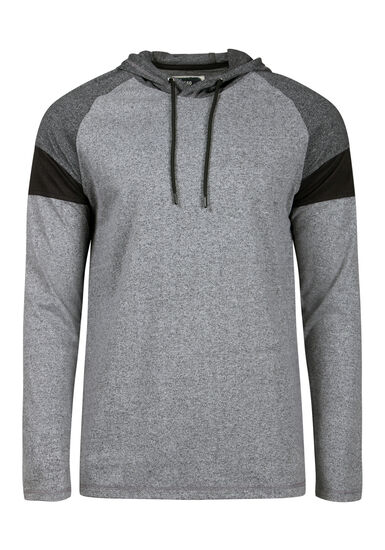 Men's Colour Block Hooded Tee, CHARCOAL, hi-res