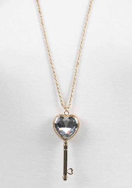 Ladies' Key Necklace, GOLD, hi-res