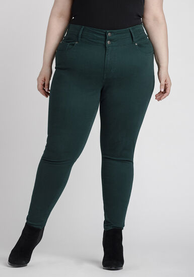 Women's Plus Size High Rise Skinny Coloured Pant, PINE / FOREST GREEN, hi-res