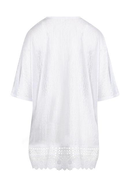Women's Lace Hem Cardigan, WHITE, hi-res
