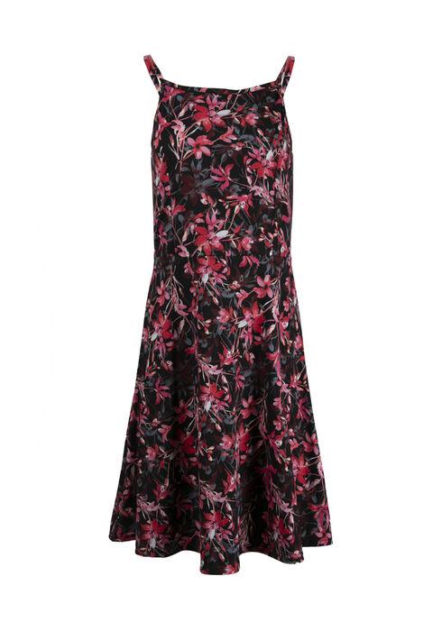 Women's Floral High Neck Dress, BURGUNDY, hi-res