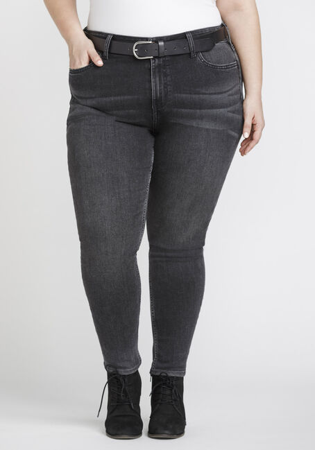 Women's Plus Size Washed Black High Rise Skinny Jeans