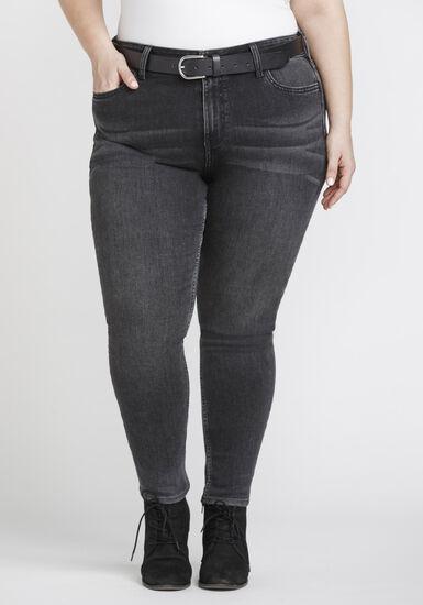 Women's Plus Size Washed Black High Rise Skinny Jeans, DENIM, hi-res