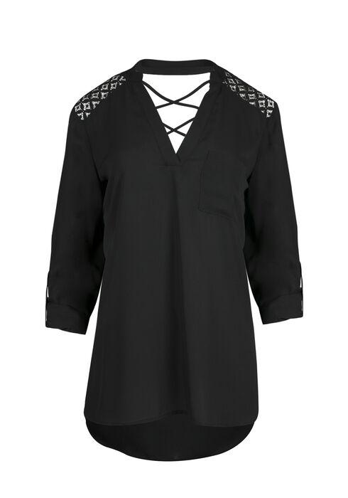 Ladies' Crochet Insert Top, BLACK, hi-res