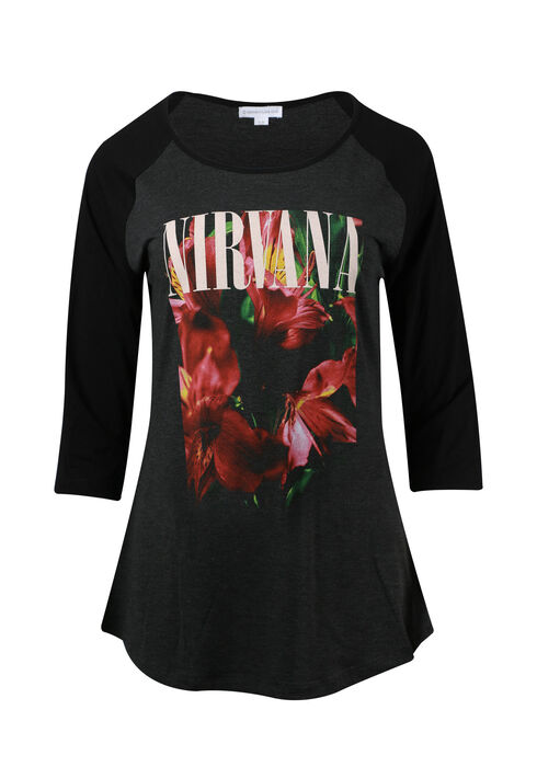 Women's Nirvana Baseball Tee, CHARCOAL, hi-res
