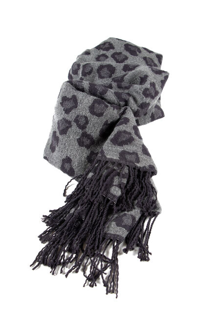 Women's Leopard Blanket Scarf, GREY, hi-res
